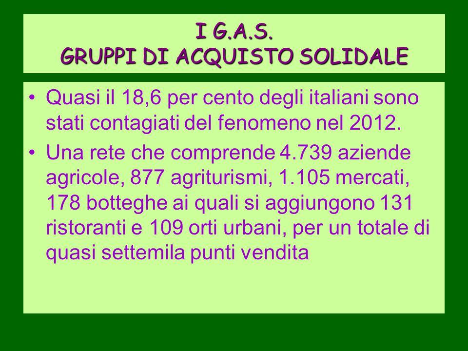 I G.A.S. GRUPPI DI ACQUISTO SOLIDALE Quasi il 18,6 per cento degli italiani sono stati contagiati del fenomeno nel 2012. Una rete che comprende 4.739