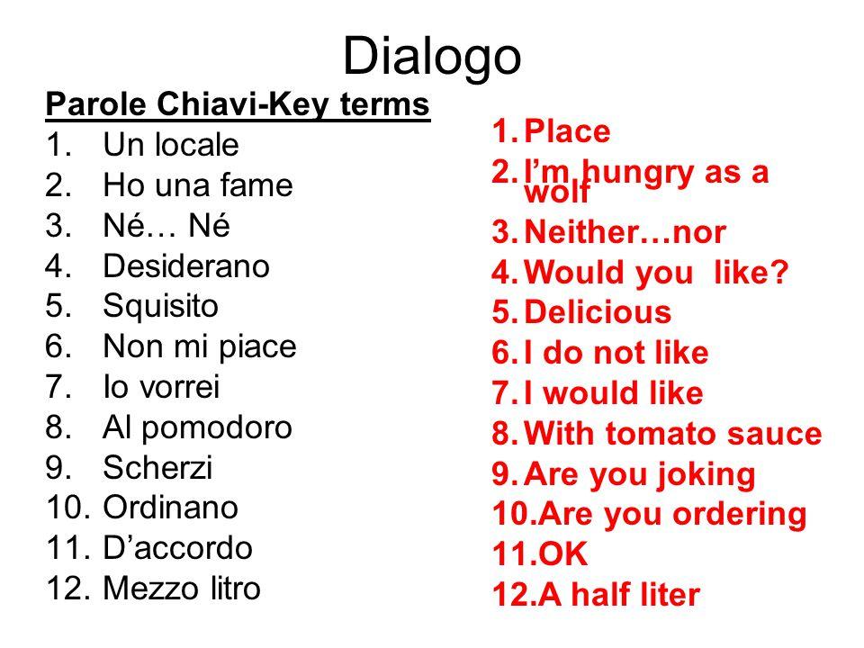 Dialogo Parole Chiavi-Key terms 1.Un locale 2.Ho una fame 3.Né… Né 4.Desiderano 5.Squisito 6.Non mi piace 7.Io vorrei 8.Al pomodoro 9.Scherzi 10.Ordin