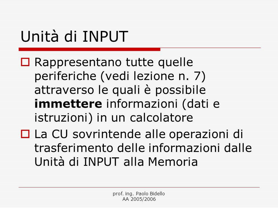 prof. ing. Paolo Bidello AA 2005/2006 Unità di INPUT  Rappresentano tutte quelle periferiche (vedi lezione n. 7) attraverso le quali è possibile imme