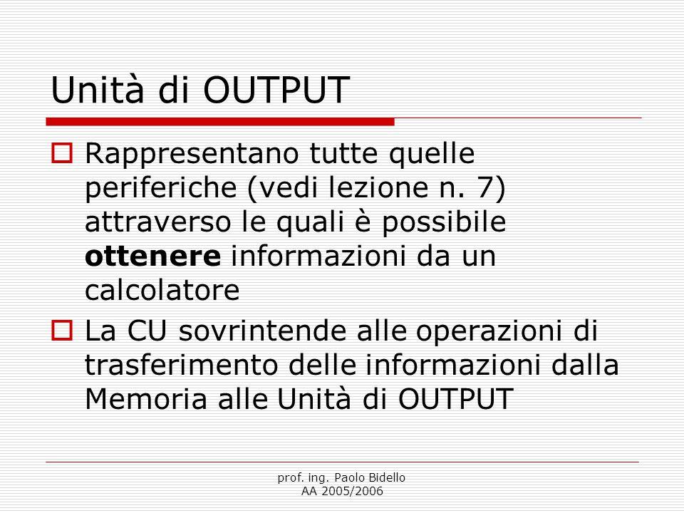 prof. ing. Paolo Bidello AA 2005/2006 Unità di OUTPUT  Rappresentano tutte quelle periferiche (vedi lezione n. 7) attraverso le quali è possibile ott