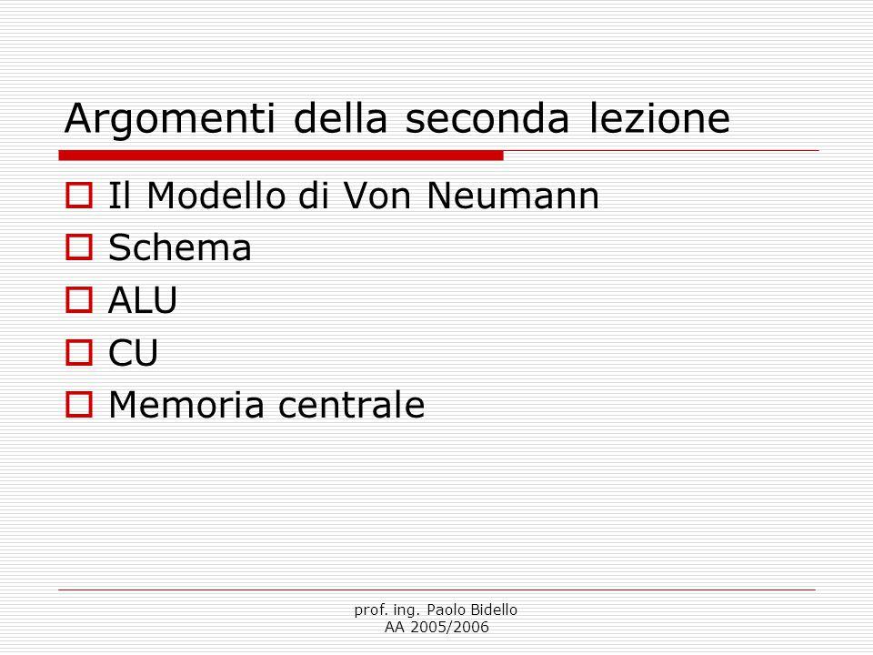 prof. ing. Paolo Bidello AA 2005/2006 Argomenti della seconda lezione  Il Modello di Von Neumann  Schema  ALU  CU  Memoria centrale