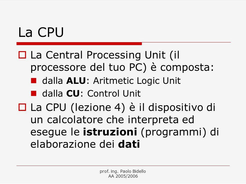 prof. ing. Paolo Bidello AA 2005/2006 La CPU  La Central Processing Unit (il processore del tuo PC) è composta: dalla ALU: Aritmetic Logic Unit dalla