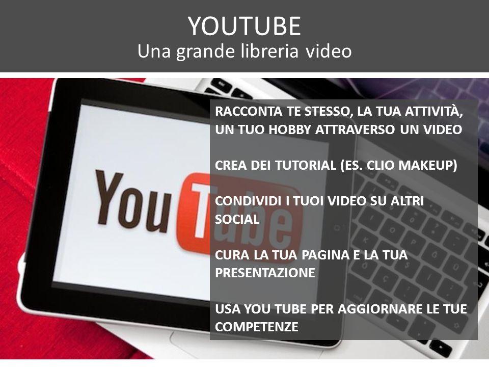 YOUTUBE Una grande libreria video RACCONTA TE STESSO, LA TUA ATTIVITÀ, UN TUO HOBBY ATTRAVERSO UN VIDEO CREA DEI TUTORIAL (ES.