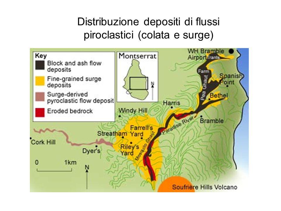 Distribuzione depositi di flussi piroclastici (colata e surge)