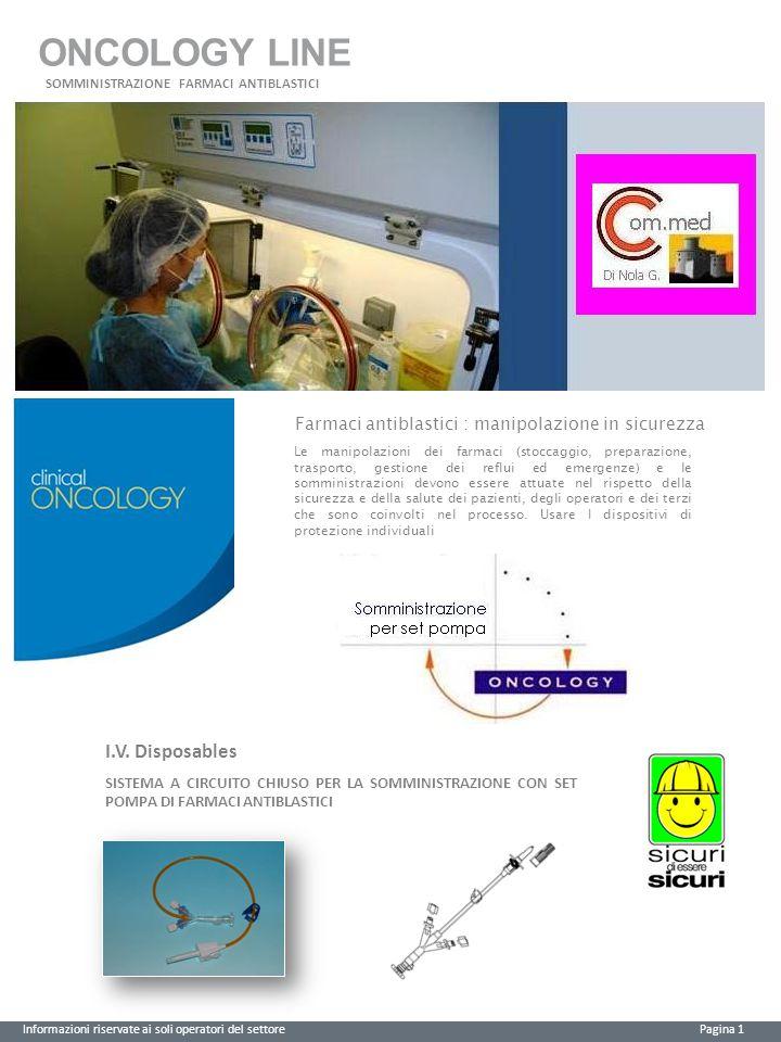 ONCOLOGY LINE Informazioni riservate ai soli operatori del settore Pagina 2 Posizione sanitariaCEClasseCND Dispositivo Medico0123I Sterile A03010102 CODICE Vedi tabelle Descrizione Dispositivo per somministrazione di farmaci chemioterapici Verificare l'integrità della confezione.