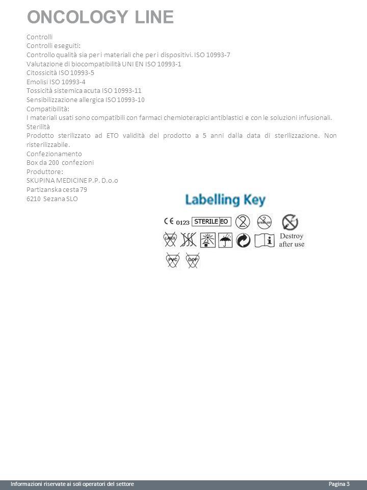 ONCOLOGY LINE Informazioni riservate ai soli operatori del settore Pagina 3 Controlli Controlli eseguiti: Controllo qualità sia per i materiali che pe