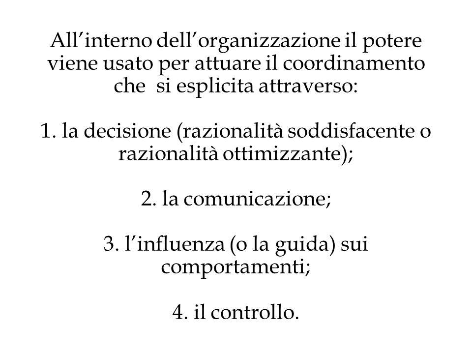 All'interno dell'organizzazione il potere viene usato per attuare il coordinamento che si esplicita attraverso: 1.