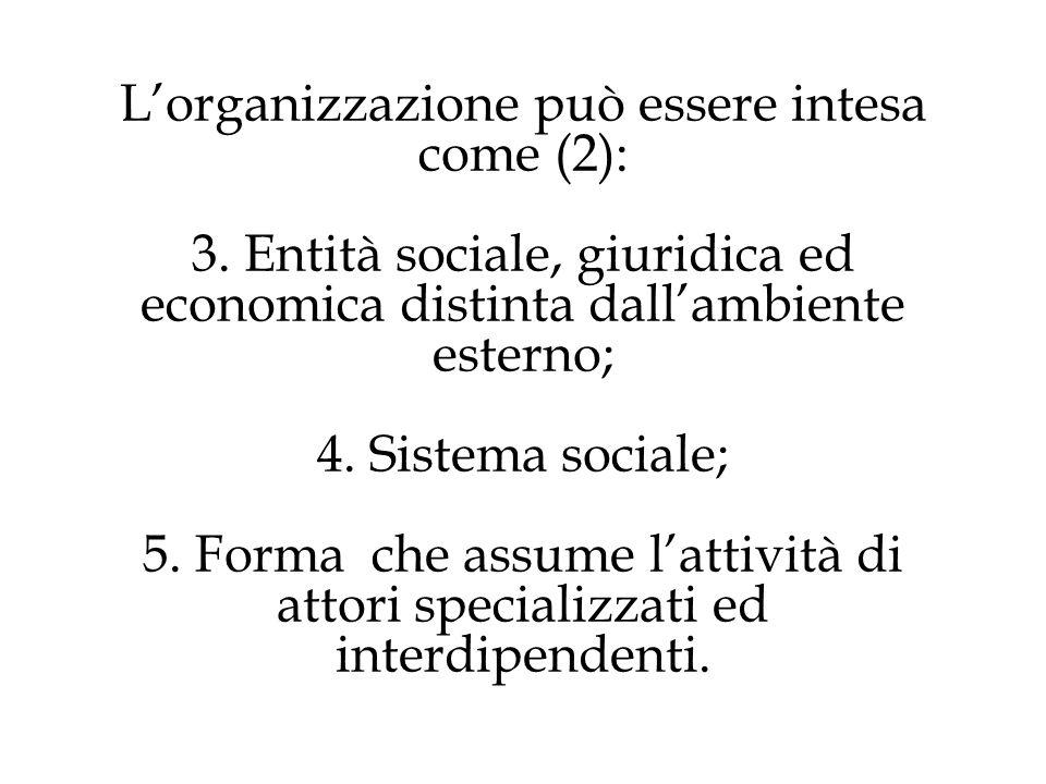 Sintesi - L'organizzazione può essere intesa come (3): Insieme di modalità di partizione di risorse e attività, e modalità di collegamento tra di esse.