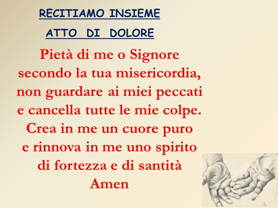 RECITIAMO INSIEME ATTO DI DOLORE Pietà di me o Signore secondo la tua misericordia, non guardare ai miei peccati e cancella tutte le mie colpe. Crea i