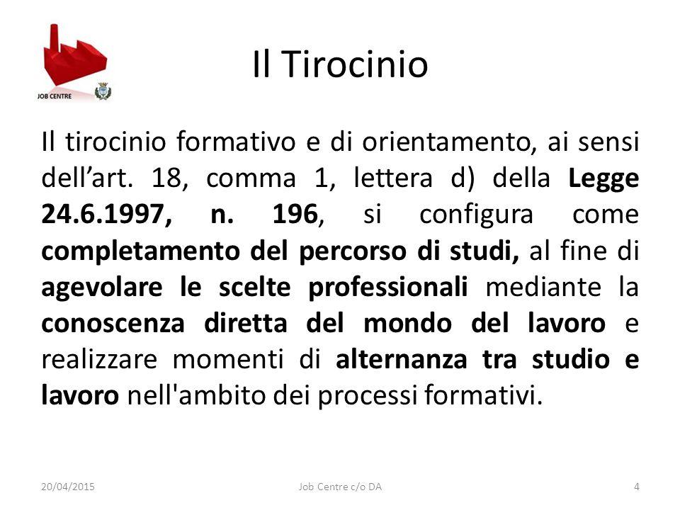 Il Tirocinio Il tirocinio formativo e di orientamento, ai sensi dell'art.
