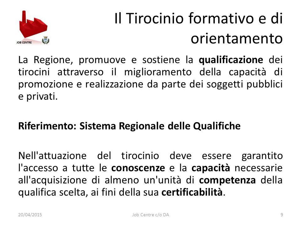 Il Tirocinio formativo e di orientamento La Regione, promuove e sostiene la qualificazione dei tirocini attraverso il miglioramento della capacità di promozione e realizzazione da parte dei soggetti pubblici e privati.