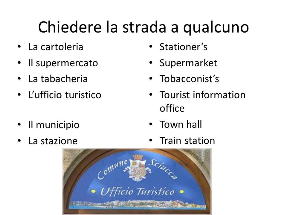 Chiedere la strada a qualcuno La cartoleria Il supermercato La tabacheria L'ufficio turistico Il municipio La stazione Stationer's Supermarket Tobacco