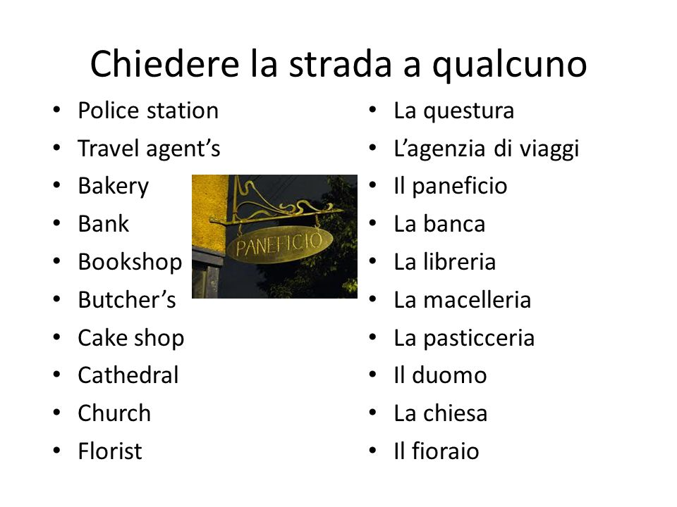 Chiedere la strada a qualcuno L'ospedale (m) L'albergo La gioielleria La gelateria La biblioteca Il mercato Il museo L'edicole (m) La farmacia L'ufficio postale Hospital Hotel Jeweller's Ice cream parlour Library Market Museum Newsagent's Pharmacy Post office