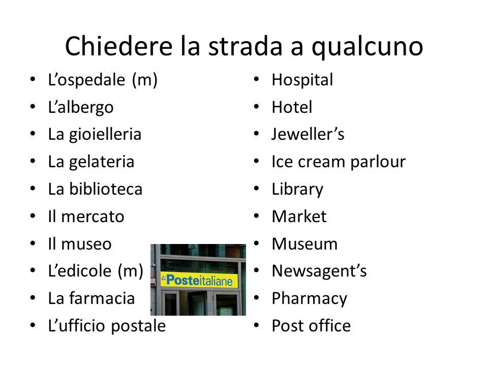 Chiedere la strada a qualcuno L'ospedale (m) L'albergo La gioielleria La gelateria La biblioteca Il mercato Il museo L'edicole (m) La farmacia L'uffic