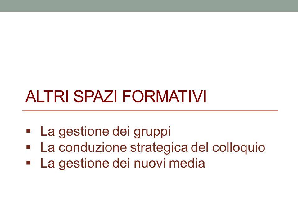 ALTRI SPAZI FORMATIVI  La gestione dei gruppi  La conduzione strategica del colloquio  La gestione dei nuovi media