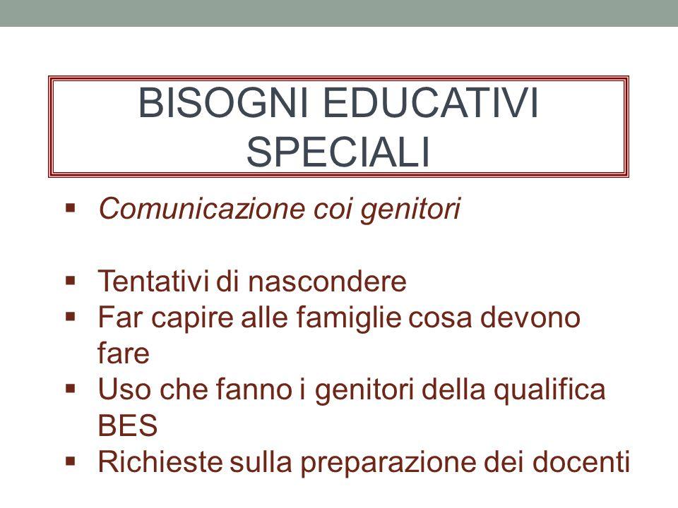 BISOGNI EDUCATIVI SPECIALI  Comunicazione coi genitori  Tentativi di nascondere  Far capire alle famiglie cosa devono fare  Uso che fanno i genitori della qualifica BES  Richieste sulla preparazione dei docenti