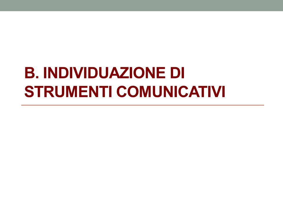 B. INDIVIDUAZIONE DI STRUMENTI COMUNICATIVI