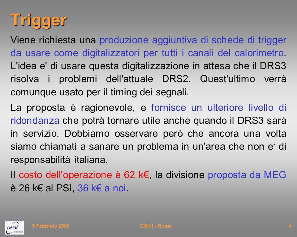 6 Febbraio 2006CSN1 - Roma5 Software (I) Il framework software che ci è stato presentato elimina molte delle inconsistenze e duplicazioni che avevamo visto a Settembre.