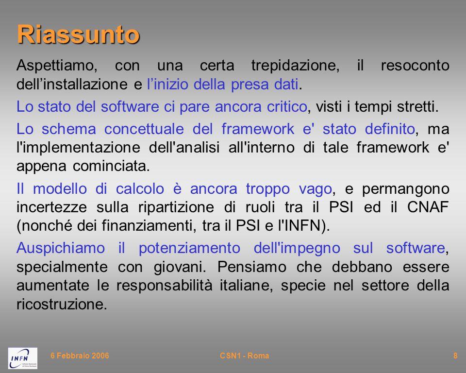 6 Febbraio 2006CSN1 - Roma9Assegnazioni Le richieste economiche su laser di calibrazione e trigger ci sembrano accettabili.