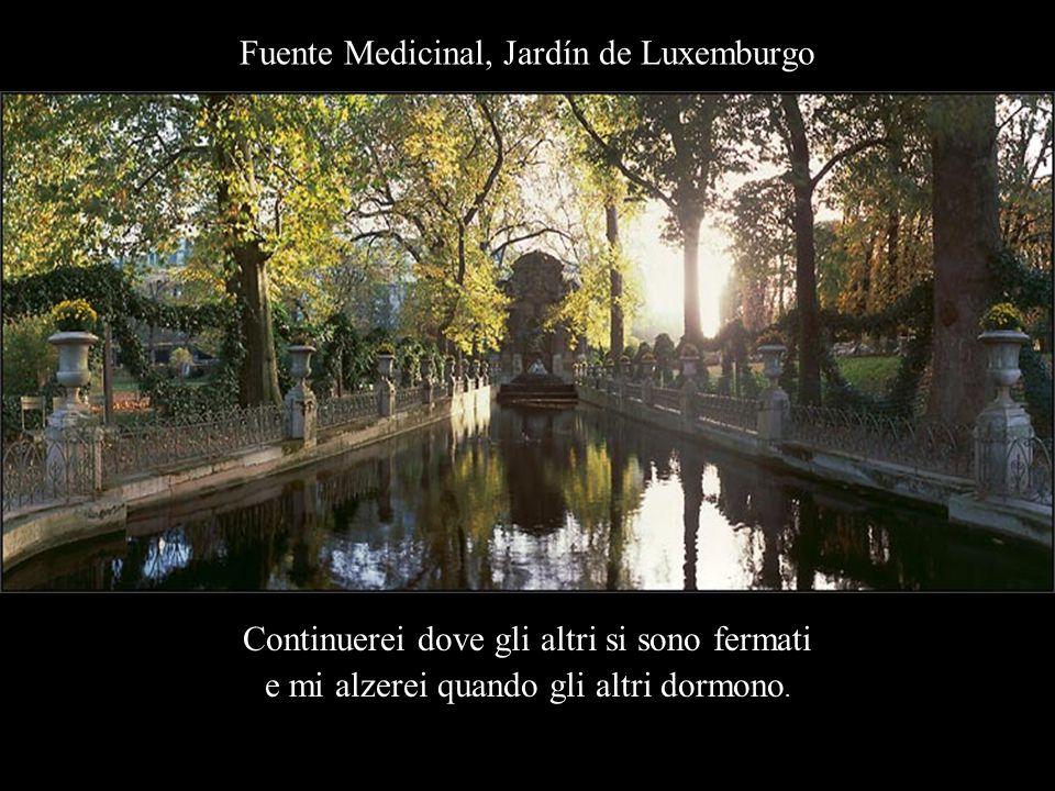 Fuente Medicinal, Jardín de Luxemburgo Continuerei dove gli altri si sono fermati e mi alzerei quando gli altri dormono.