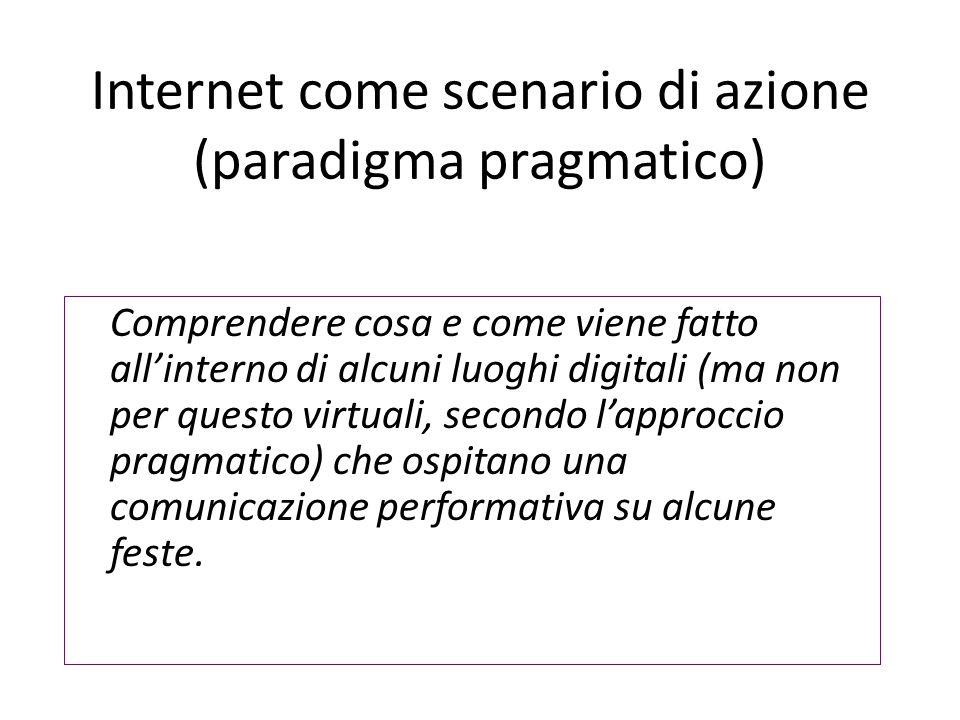 Internet come scenario di azione (paradigma pragmatico) Comprendere cosa e come viene fatto all'interno di alcuni luoghi digitali (ma non per questo virtuali, secondo l'approccio pragmatico) che ospitano una comunicazione performativa su alcune feste.