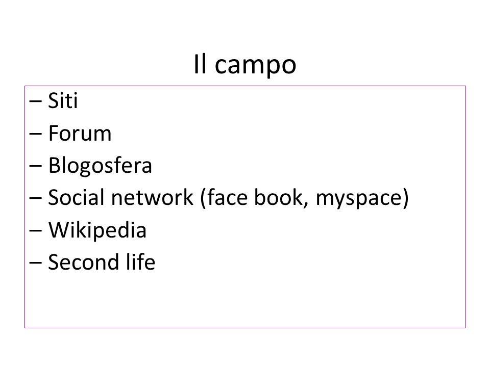 Il campo –Siti –Forum –Blogosfera –Social network (face book, myspace) –Wikipedia –Second life