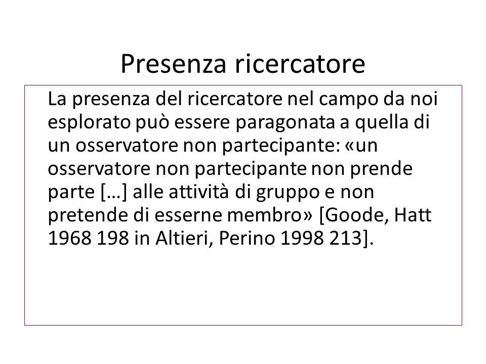 Presenza ricercatore La presenza del ricercatore nel campo da noi esplorato può essere paragonata a quella di un osservatore non partecipante: «un osservatore non partecipante non prende parte […] alle attività di gruppo e non pretende di esserne membro» [Goode, Hatt 1968 198 in Altieri, Perino 1998 213].