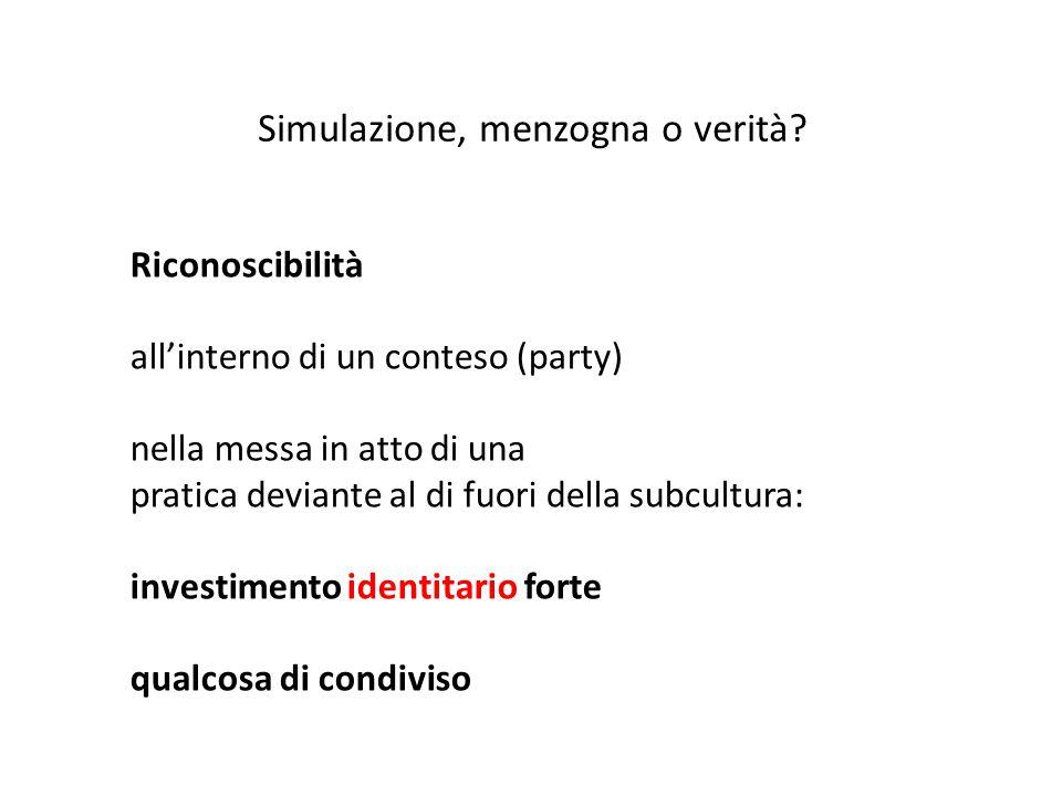 Riconoscibilità all'interno di un conteso (party) nella messa in atto di una pratica deviante al di fuori della subcultura: investimento identitario f