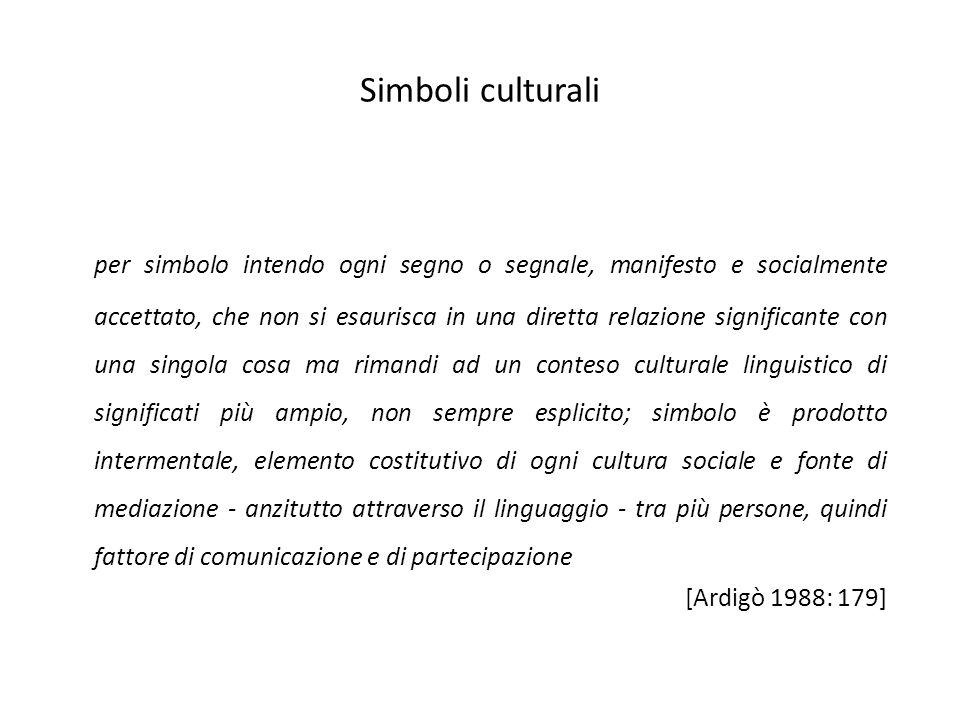 Simboli culturali per simbolo intendo ogni segno o segnale, manifesto e socialmente accettato, che non si esaurisca in una diretta relazione significa