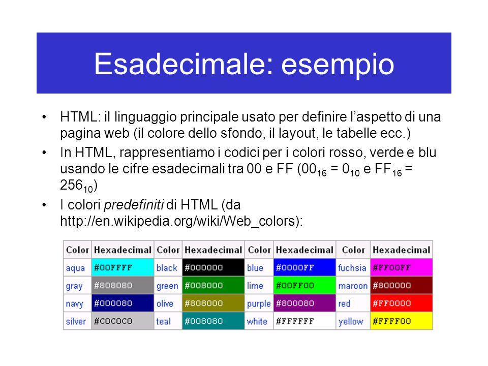 Esadecimale: esempio HTML: il linguaggio principale usato per definire l'aspetto di una pagina web (il colore dello sfondo, il layout, le tabelle ecc.) In HTML, rappresentiamo i codici per i colori rosso, verde e blu usando le cifre esadecimali tra 00 e FF (00 16 = 0 10 e FF 16 = 256 10 ) I colori predefiniti di HTML (da http://en.wikipedia.org/wiki/Web_colors):