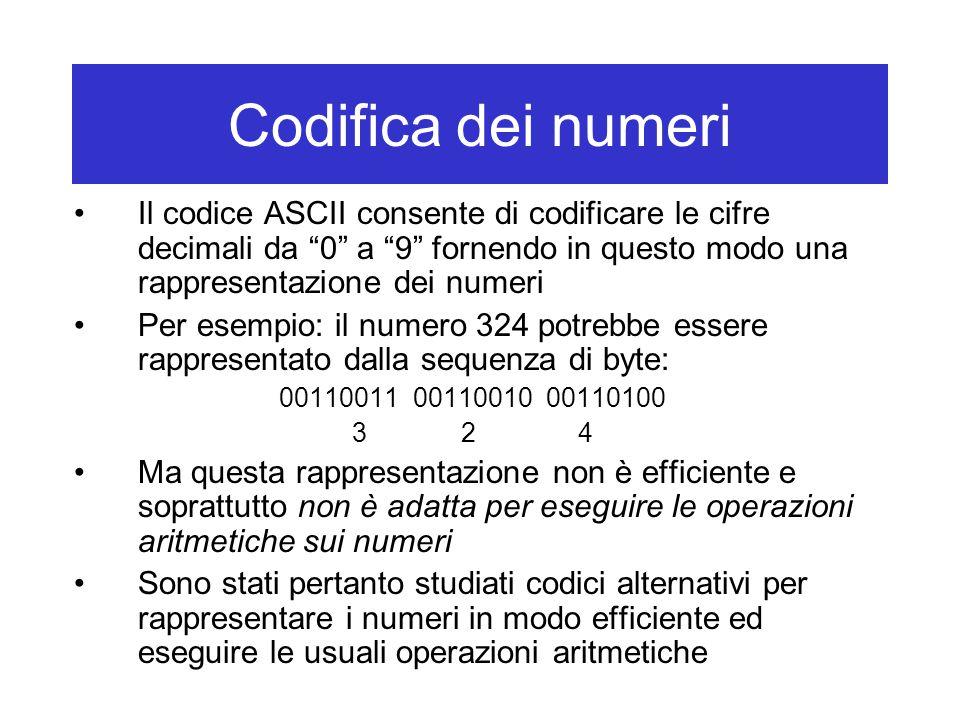 Codifica dei numeri Il codice ASCII consente di codificare le cifre decimali da 0 a 9 fornendo in questo modo una rappresentazione dei numeri Per esempio: il numero 324 potrebbe essere rappresentato dalla sequenza di byte: 00110011 00110010 00110100 3 2 4 Ma questa rappresentazione non è efficiente e soprattutto non è adatta per eseguire le operazioni aritmetiche sui numeri Sono stati pertanto studiati codici alternativi per rappresentare i numeri in modo efficiente ed eseguire le usuali operazioni aritmetiche