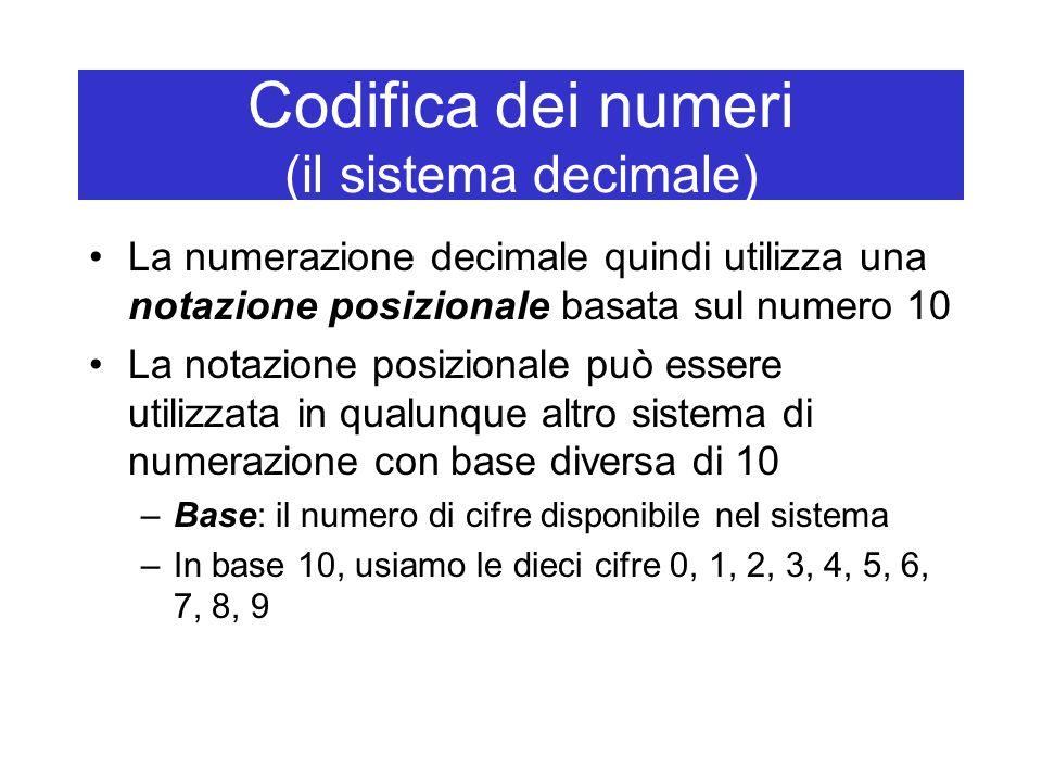Codifica dei numeri (il sistema decimale) La numerazione decimale quindi utilizza una notazione posizionale basata sul numero 10 La notazione posizionale può essere utilizzata in qualunque altro sistema di numerazione con base diversa di 10 –Base: il numero di cifre disponibile nel sistema –In base 10, usiamo le dieci cifre 0, 1, 2, 3, 4, 5, 6, 7, 8, 9