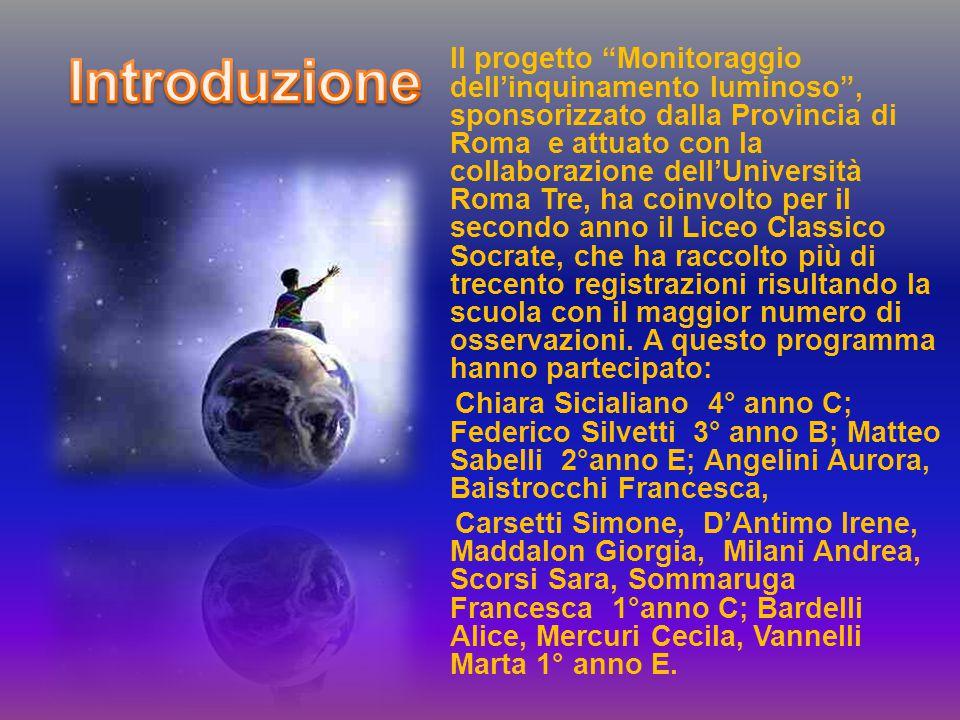 """Il progetto """"Monitoraggio dell'inquinamento luminoso"""", sponsorizzato dalla Provincia di Roma e attuato con la collaborazione dell'Università Roma Tre,"""