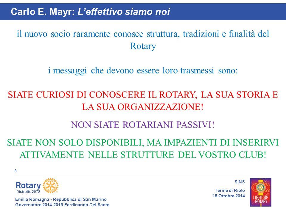 Emilia Romagna - Repubblica di San Marino Governatore 2014-2015 Ferdinando Del Sante Distretto 2072 3 SINS Terme di Riolo 18 Ottobre 2014 Carlo E. May