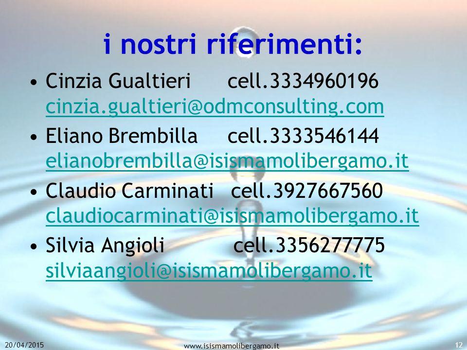 i nostri riferimenti: Cinzia Gualtieri cell.3334960196 cinzia.gualtieri@odmconsulting.com cinzia.gualtieri@odmconsulting.com Eliano Brembilla cell.3333546144 elianobrembilla@isismamolibergamo.it elianobrembilla@isismamolibergamo.it Claudio Carminati cell.3927667560 claudiocarminati@isismamolibergamo.it claudiocarminati@isismamolibergamo.it Silvia Angioli cell.3356277775 silviaangioli@isismamolibergamo.it silviaangioli@isismamolibergamo.it 20/04/2015 www.isismamolibergamo.it 12