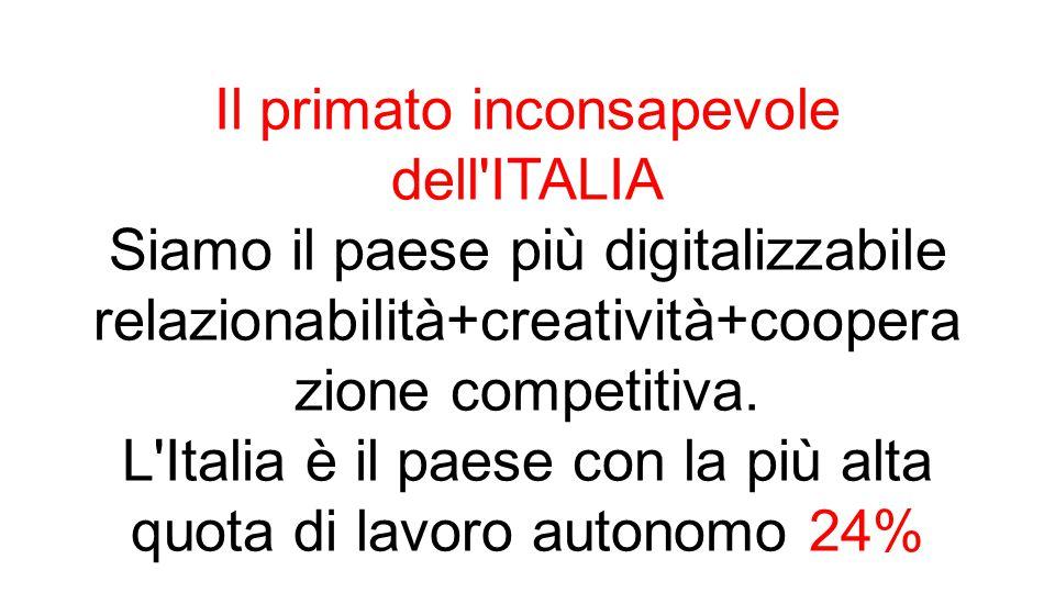 Il primato inconsapevole dell ITALIA Siamo il paese più digitalizzabile relazionabilità+creatività+coopera zione competitiva.
