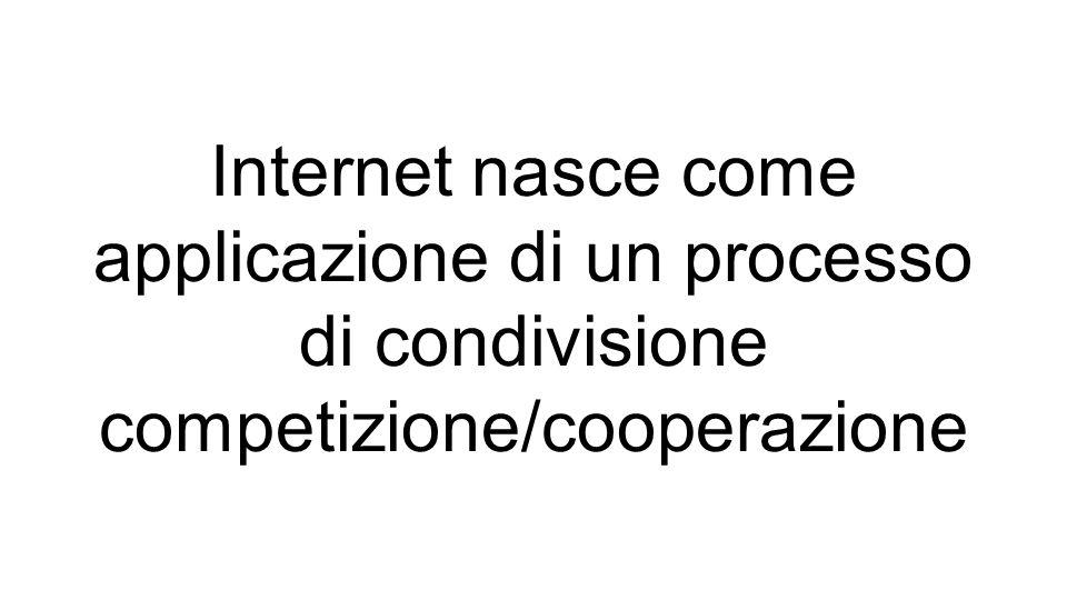 Internet nasce come applicazione di un processo di condivisione competizione/cooperazione