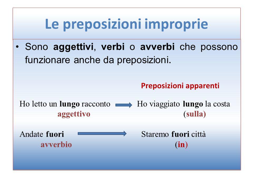 Le preposizioni improprie Sono aggettivi, verbi o avverbi che possono funzionare anche da preposizioni. Ho letto un lungo racconto aggettivo Andate fu