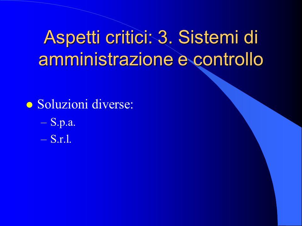 Aspetti critici: 3. Sistemi di amministrazione e controllo l Soluzioni diverse: –S.p.a. –S.r.l.