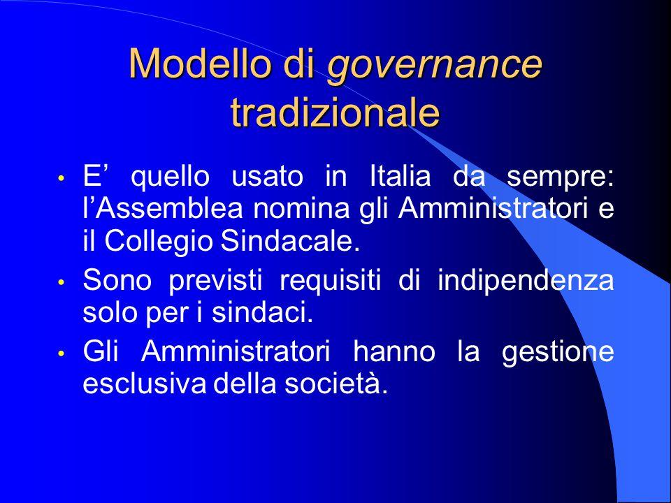 Modello di governance tradizionale E' quello usato in Italia da sempre: l'Assemblea nomina gli Amministratori e il Collegio Sindacale.