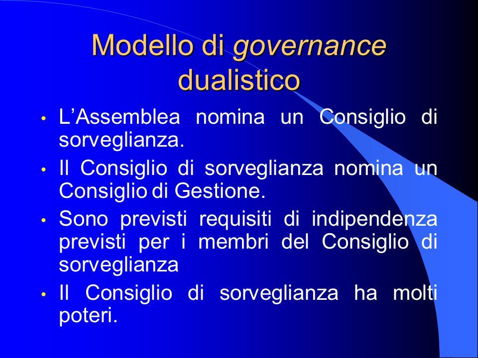 Modello di governance dualistico L'Assemblea nomina un Consiglio di sorveglianza.