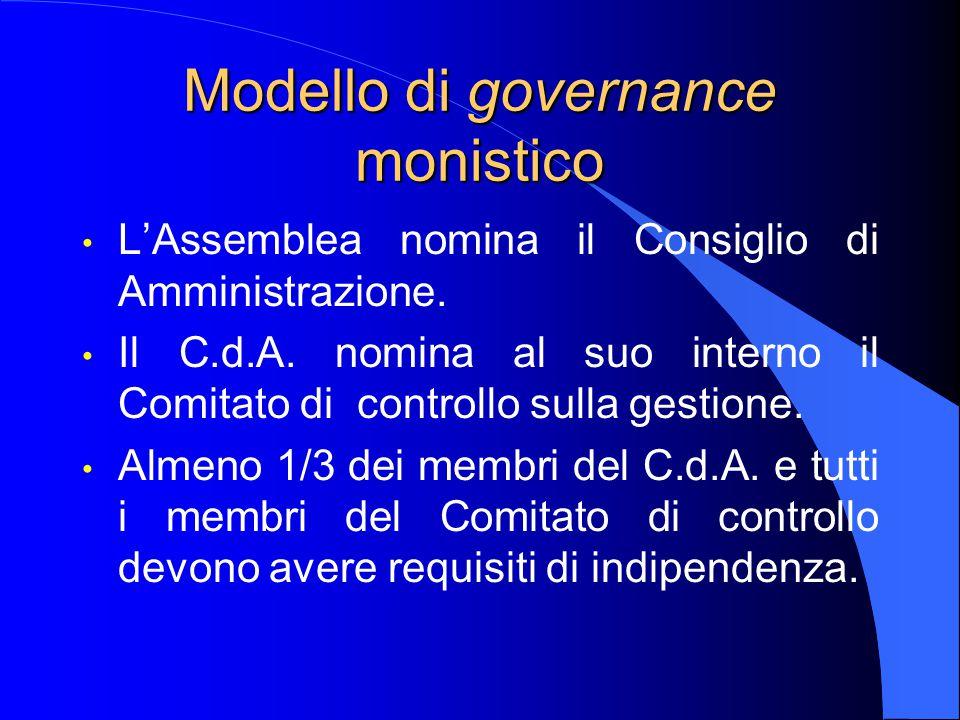 Modello di governance monistico L'Assemblea nomina il Consiglio di Amministrazione.