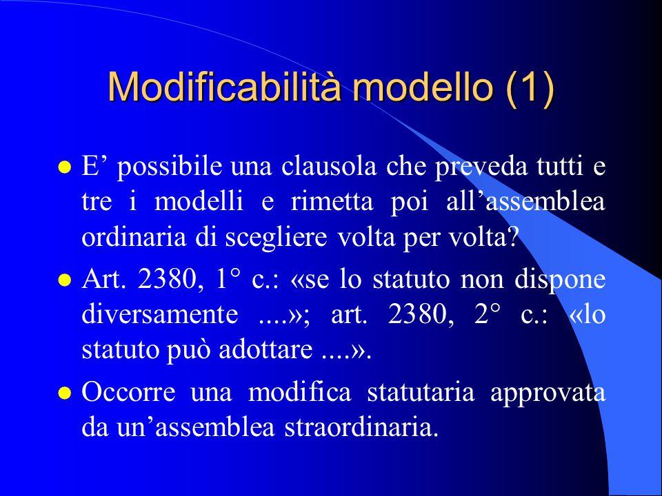Modificabilità modello (1) l E' possibile una clausola che preveda tutti e tre i modelli e rimetta poi all'assemblea ordinaria di scegliere volta per volta.