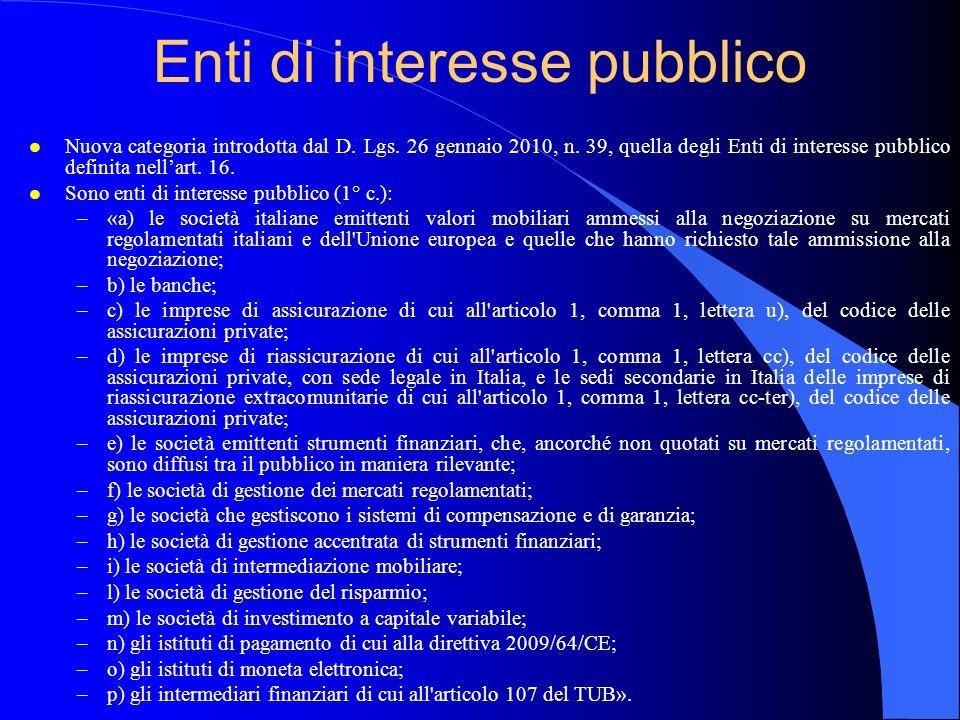Enti di interesse pubblico l Nuova categoria introdotta dal D.