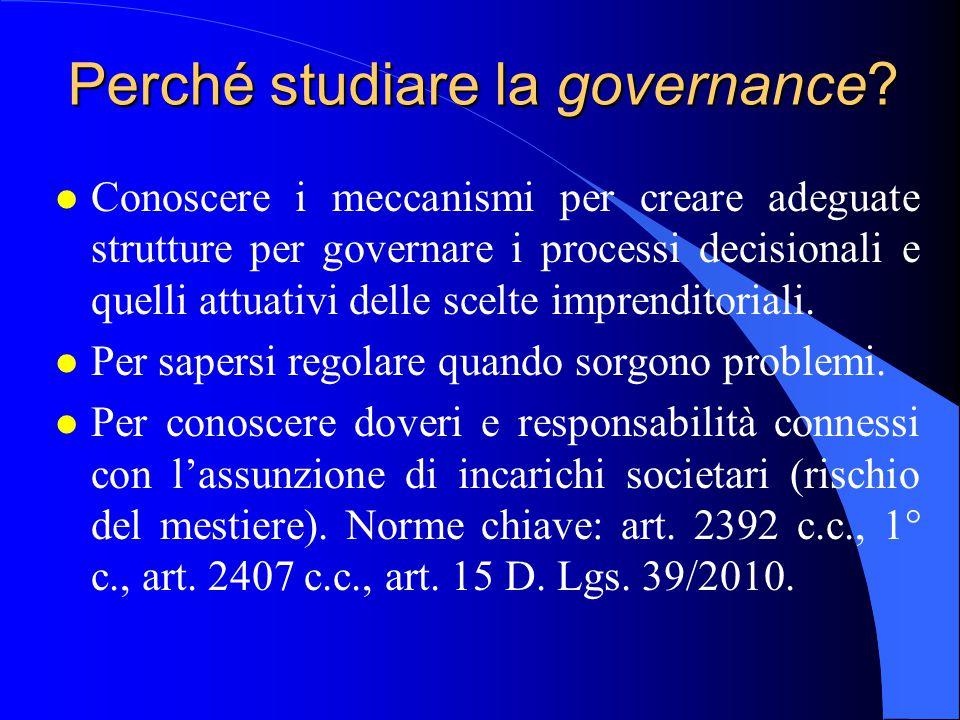 Perché studiare la governance.