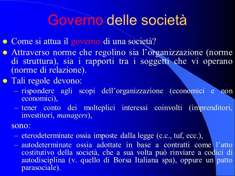 Governo delle società l Come si attua il governo di una società.