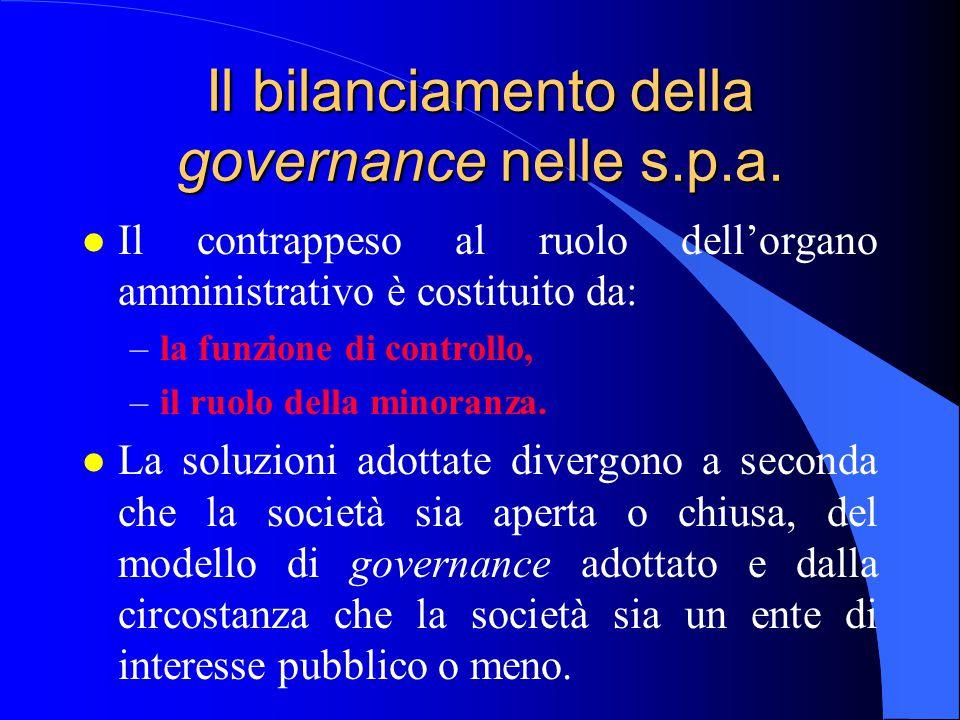Il bilanciamento della governance nelle s.p.a.