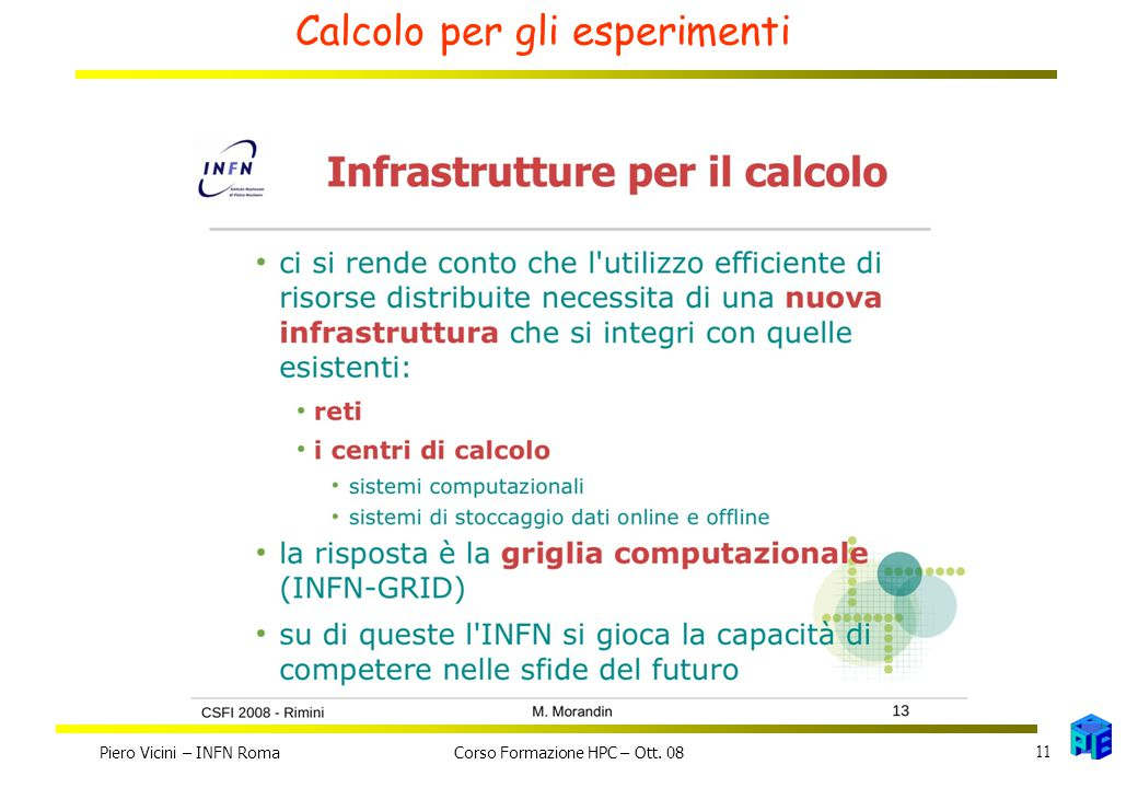 Calcolo per gli esperimenti Piero Vicini – INFN Roma 11 Corso Formazione HPC – Ott. 08