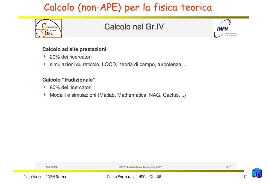 Calcolo (non-APE) per la fisica teorica Piero Vicini – INFN Roma 14 Corso Formazione HPC – Ott. 08