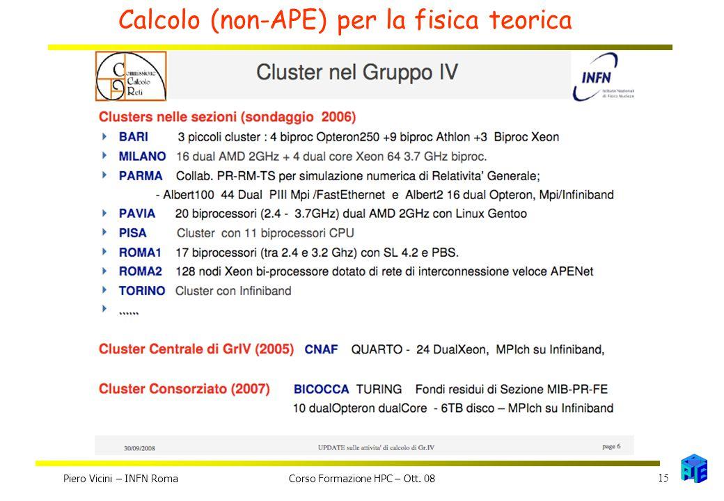 Calcolo (non-APE) per la fisica teorica Piero Vicini – INFN Roma 15 Corso Formazione HPC – Ott. 08